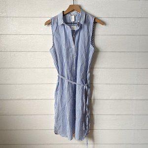 H&M Blue & White Striped Sleeveless Shirt Dress 10